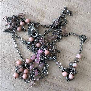 Pink American Eagle long silver necklace
